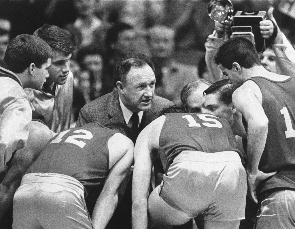 FILE - In this Dec. 6, 1985, file photo, actor Gene Hackman gives fictional Hickory High basketball players instructions during filming of the final g...