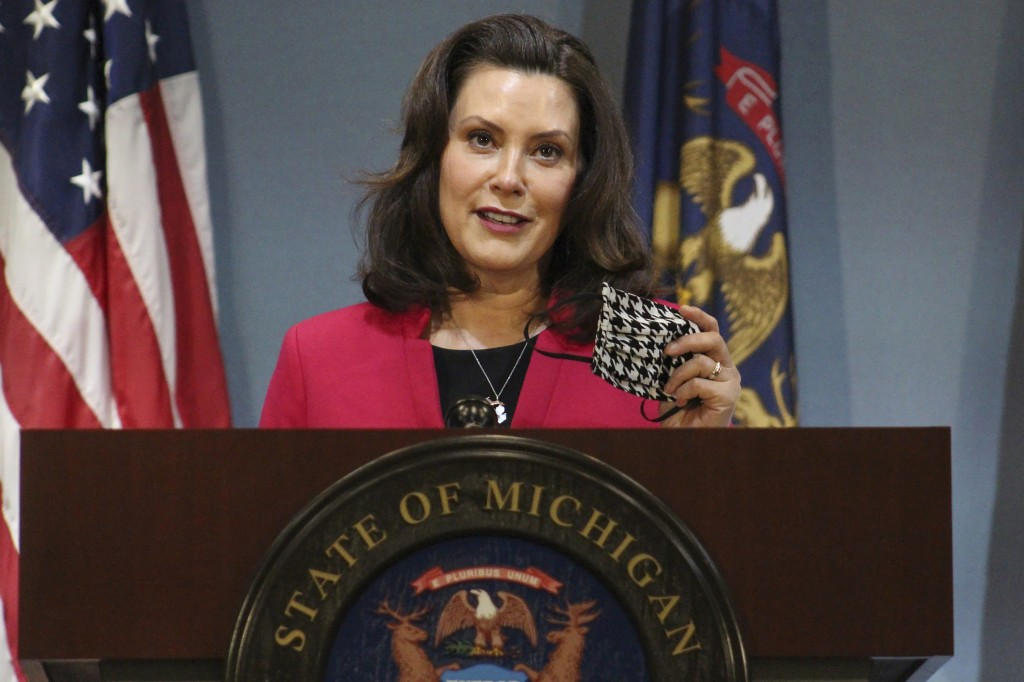 FILE - In this Thursday, May 21, 2020 file photo provided by the Michigan Office of the Governor, Michigan Gov. Gretchen Whitmer speeks during a news ...