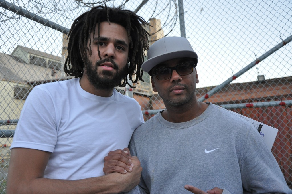 This undated image shows music artist J Cole, left, with incarcerated Swedish music producer David Jassy at San Quentin State Prison in California. Ja...