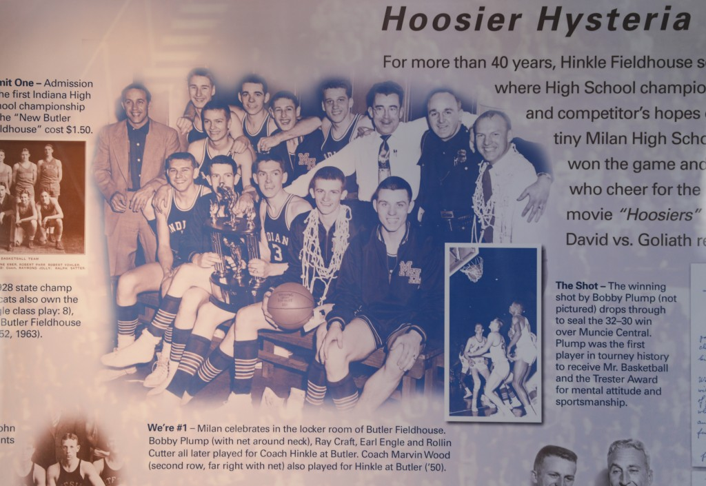 This image provided by Hinkle Fieldhouse shows a plaque hanging in Hinkle Fieldhouse in Indianapolis, Monday, May 4, 2020. The plaque tells the story ...