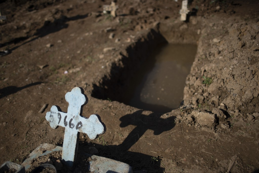 A cross with a number marks an empty grave at the Caju cemetery where many COVID-19 victims are being buried in Rio de Janeiro, Brazil, Wednesday, May...