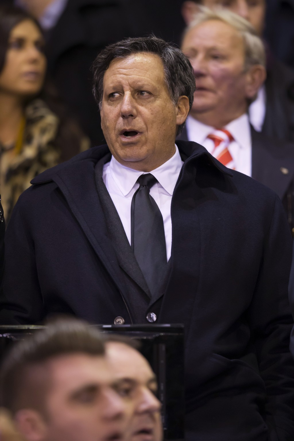 FILE - In this photo taken on Oct. 22, 2015, Liverpool chairman Tom Werner takes to the stands before the Europa League Group B soccer match between L...