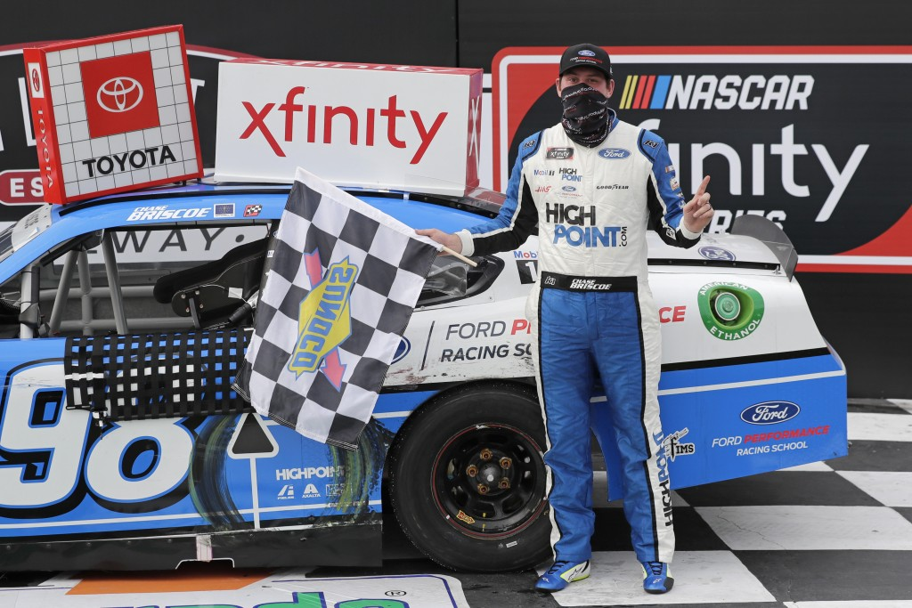 Chase Briscoe celebrates after winning the NASCAR Xfinity series auto race Thursday, May 21, 2020, in Darlington, S.C. (AP Photo/Brynn Anderson)