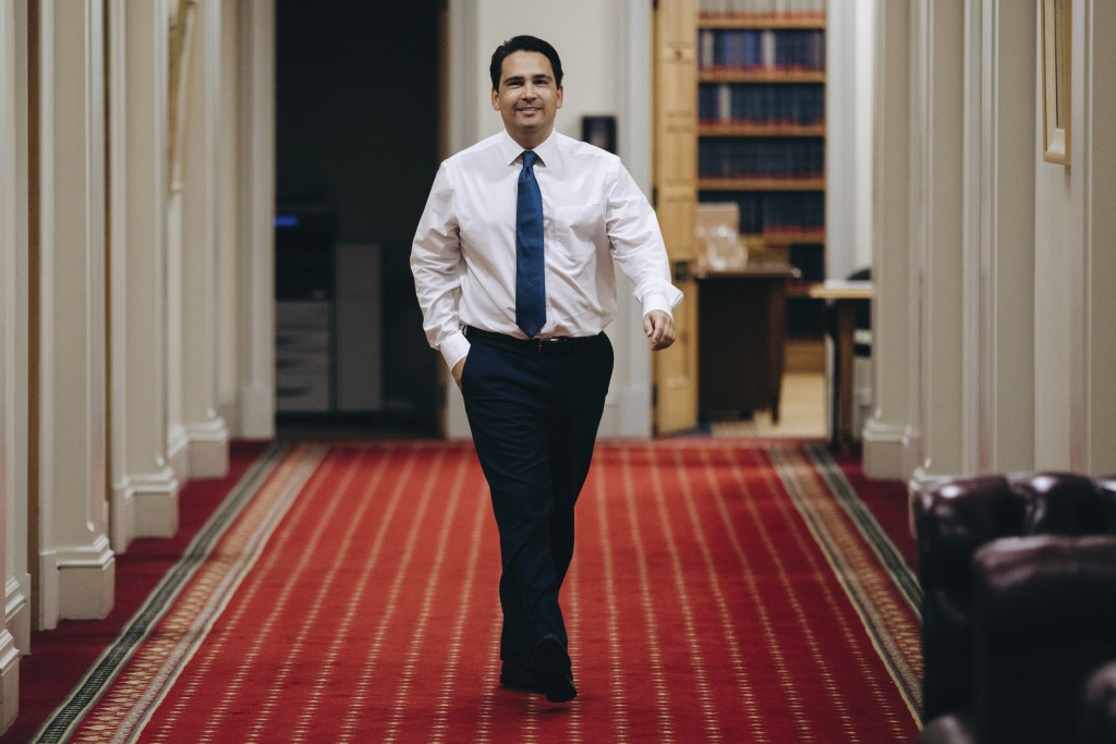 National Party's Simon Bridges walks the corridor ahead of a party caucus meeting in Wellington, New Zealand, Friday, May 22, 2020. Todd Muller on Fri...