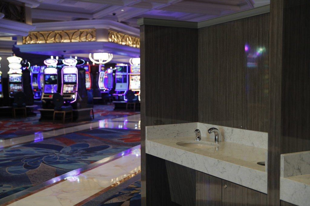 Hand washing stations have been installed in the casino area as a coronavirus safety measure at the closed Bellagio hotel and casino, Wednesday, May 2...