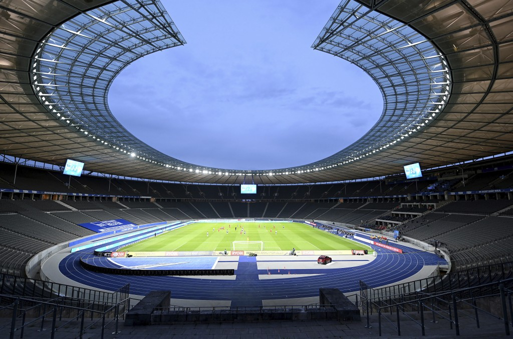 A general view before the German Bundesliga soccer match between Hertha BSC Berlin and 1. FC Union Berlin in Berlin, Germany, Friday, May 22, 2020. Th...