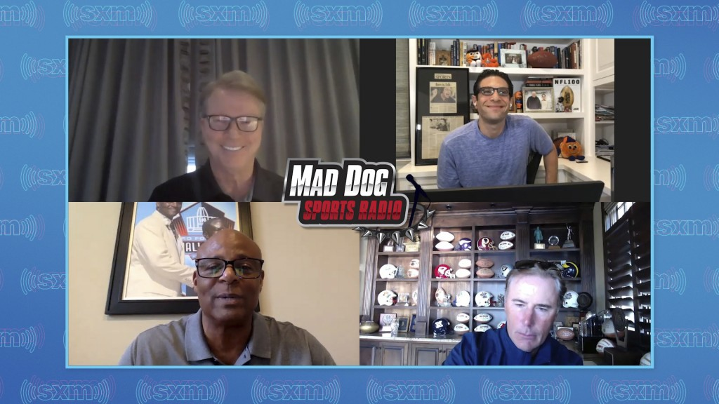 In this image made from a May 2020 teleconference provided by SiriusXM, Adam Schein, clockwise from upper right, Rich Gannon, Warren Moon and Phil Sim...