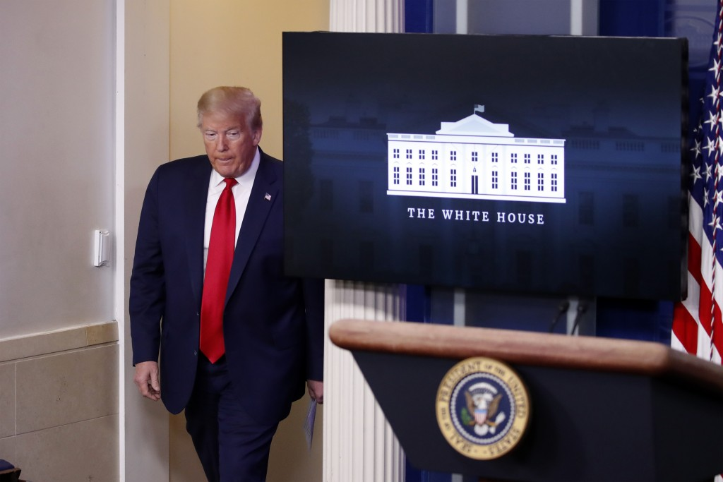 President Donald Trump arrives to speak with reporters about the coronavirus in the James Brady Briefing Room of the White House, Friday, May 22, 2020...