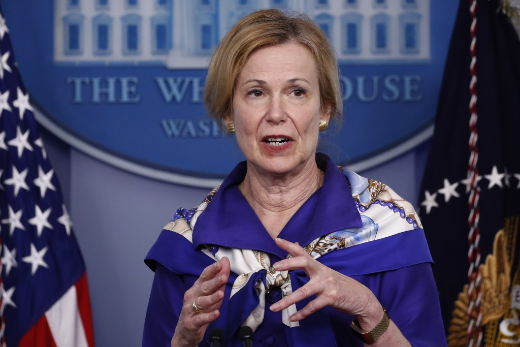 Dr. Deborah Birx, White House coronavirus response coordinator, speaks with reporters about the coronavirus in the James Brady Briefing Room of the Wh...