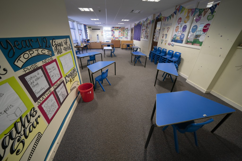 A classroom with safely spaced desks laid out before the possible reopening of Lostock Hall Primary school in Poynton near Manchester, England, Wednes...