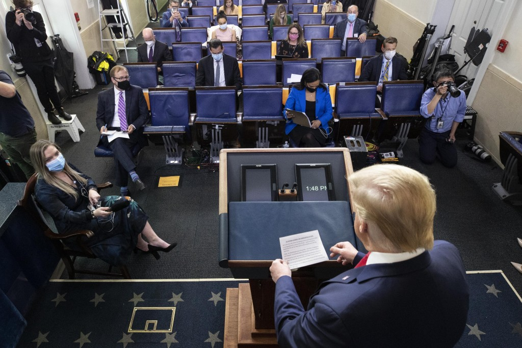 President Donald Trump arrives to speak with reporters about the coronavirus in the James Brady Press Briefing Room of the White House, Friday, May 22...
