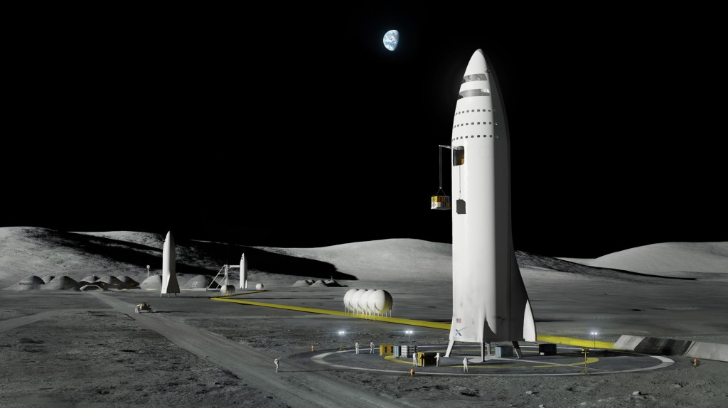 FILE - This artist's rendering made available by Elon Musk on Friday, Sept. 29, 2017, depicts a SpaceX rocket design on the Earth's moon. (SpaceX via ...