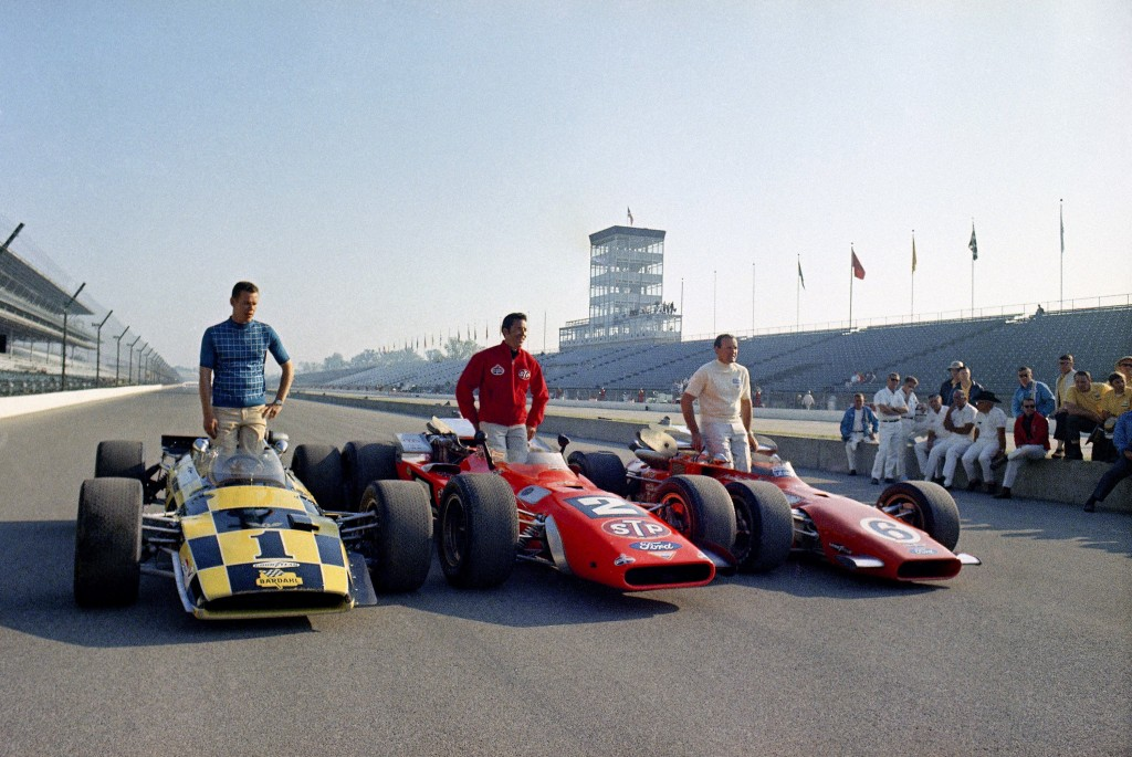 FILE - In this May 24, 1969, file photo, from left to right: Al Unser, Mario Andretti, and A.J. Foyt, the front row in the upcoming Indianapolis 500 a...