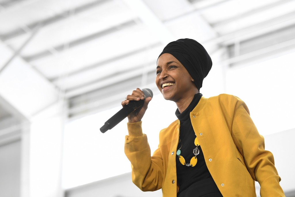 FILE - In this Feb. 29, 2020 file photo, U.S. Rep. Ilhan Omar, D-Minn., speaks at a rally in Springfield, Mass. At a young age, Rep. Omar earned a rep...