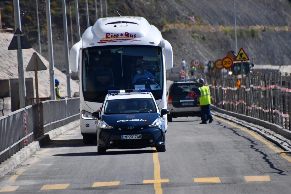 In this Friday, May 22, 2020, photo, Moroccan citizens wait for repatriation in buses after being stranded in Spain due to the coronavirus pandemic in...