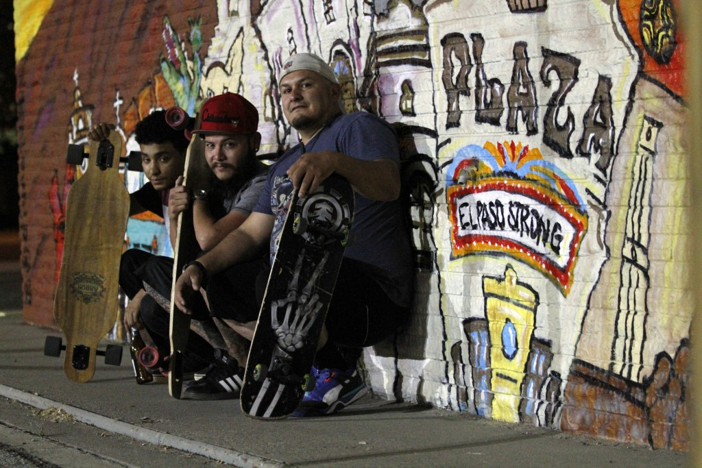 In this Thursday, May 7, 2020 photo, El Paso skateboarders Issac Garcia, 23; Ricardo Federico, 32; and Joseph Garcia, also 32, pose for a photo in fro...
