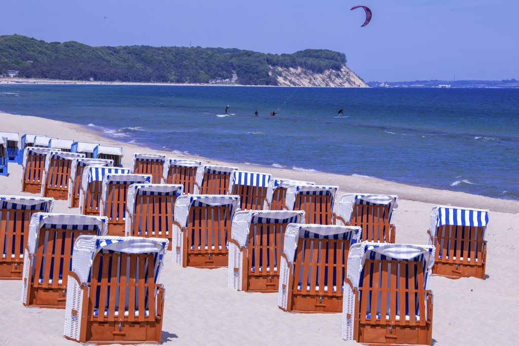 Chairs stand with the prescribed safety distance on a beach of G'hren on the island of R'gen, Mecklenburg-Western, Germany, Friday, May 22, 2020. Afte...
