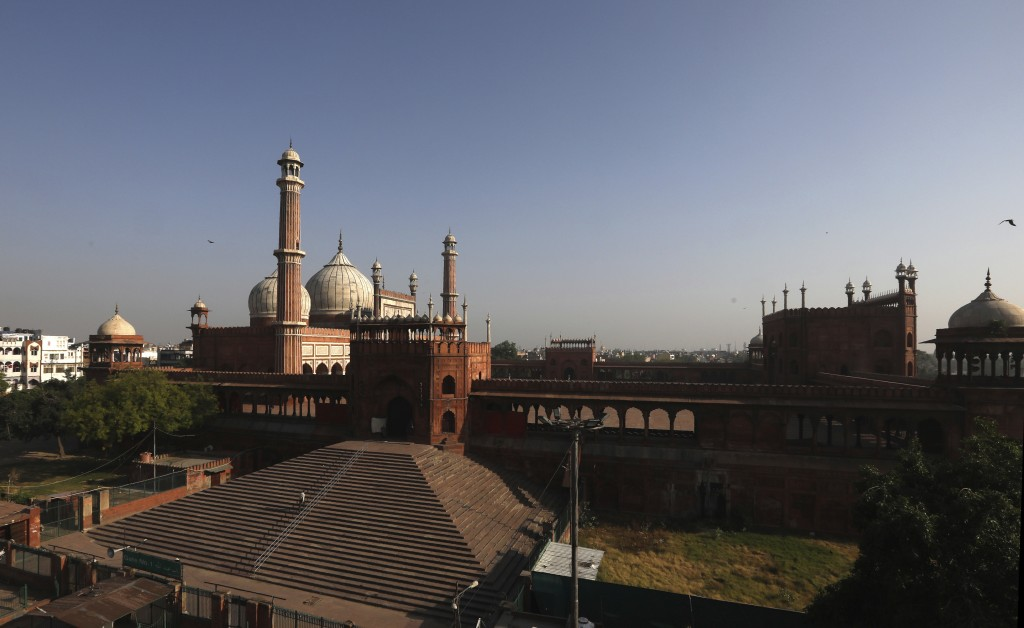 The Jama Mosque is seen during Eid al-Fitr at the old quarters of New Delhi, India, Monday, May 25, 2020. The holiday of Eid al-Fitr, the end of the f...