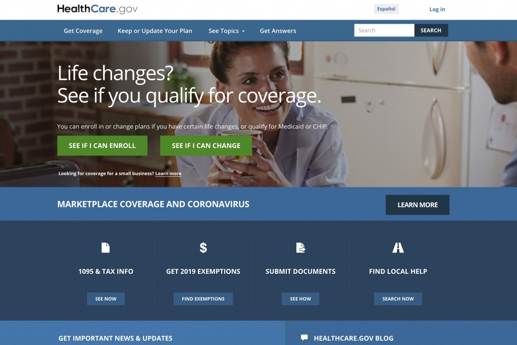 FILE - This file image provided by U.S. Centers for Medicare & Medicaid Service shows the website for HealthCare.gov. Many laid-off workers who lost h...
