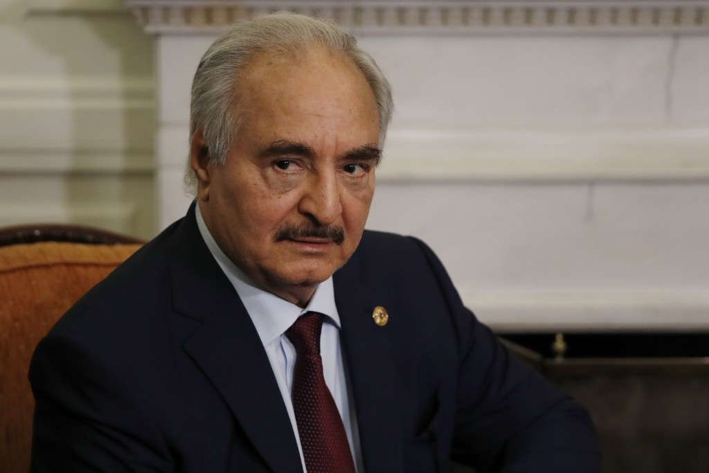 FILE - In this Jan. 17, 2020, file, photo, Libyan Gen. Khalifa Hifter joins a meeting with the Greek Foreign Minister Nikos Dendias in Athens. The U.S...