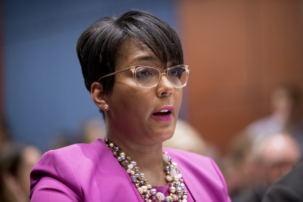 FILE - In this July 17, 2019, file photo, Atlanta Mayor Keisha Lance Bottoms speaks during a Senate Democrats' Special Committee on the Climate Crisis...