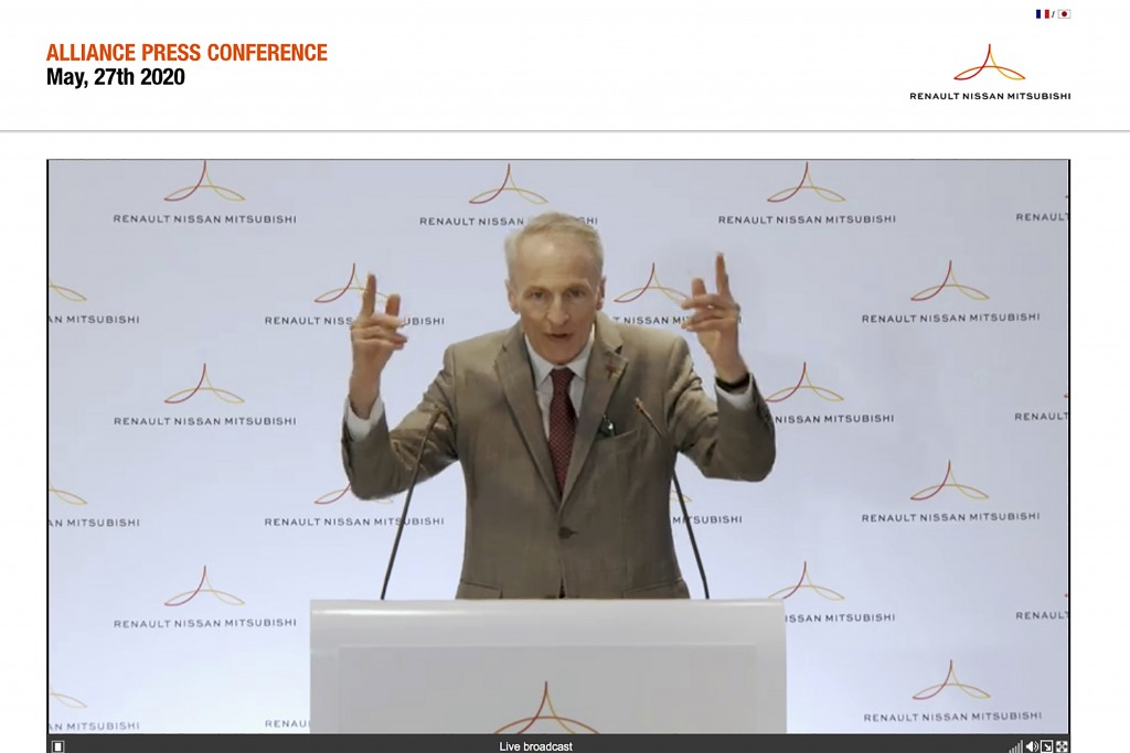 In this image from a video provided by Renault-Nissan-Mitsubishi, Alliance Operating Board Chairman Jean-Dominique Senard speaks during an online news...