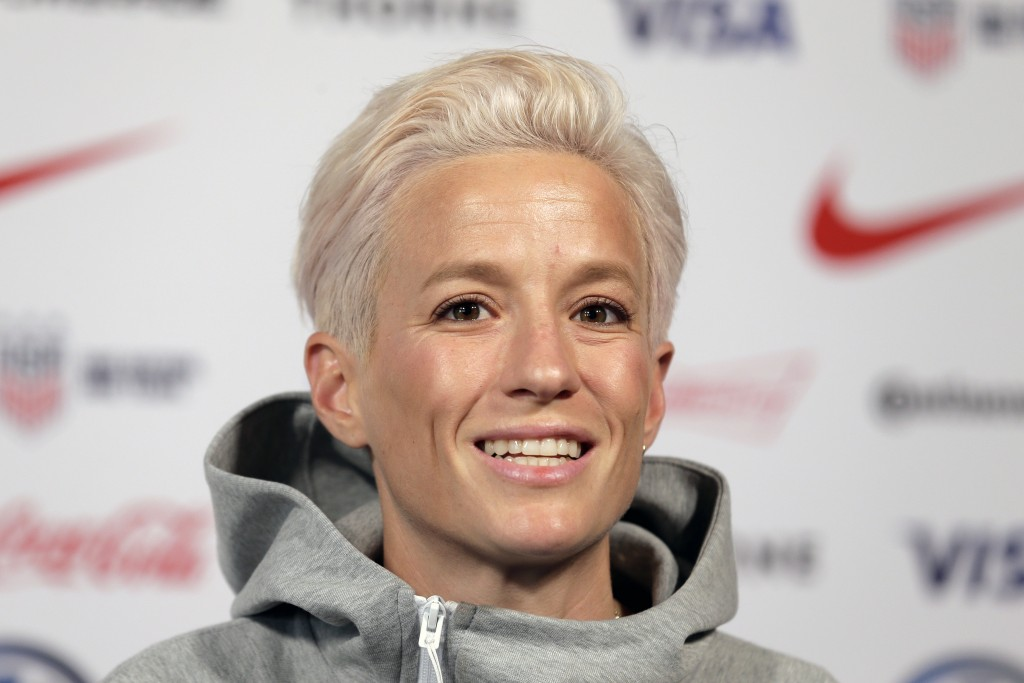 FILE - In this May 24, 2019, file photo, Megan Rapinoe, a member of the United States women's national soccer team, speaks to reporters during a news ...