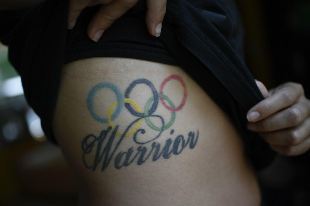Venezuelan Olympic medalist Stefany Hernandez, a BMX racing cyclist, shows her Olympic rings tattoo, a reference to her competing at the 2016 Rio Summ...