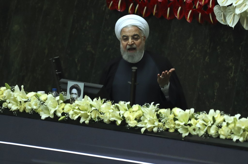 Iranian President Hassan Rouhani speaks during the inauguration of the new parliament in Tehran, Iran, Wednesday, May, 27, 2020. Iran convened its new...
