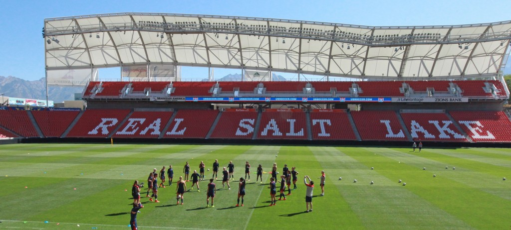 FILE - In this Sept. 12, 2014 file photo, members of the U.S. Women's National team warm up during practice at Rio Tinto Stadium in Sandy, Utah. Pro s...