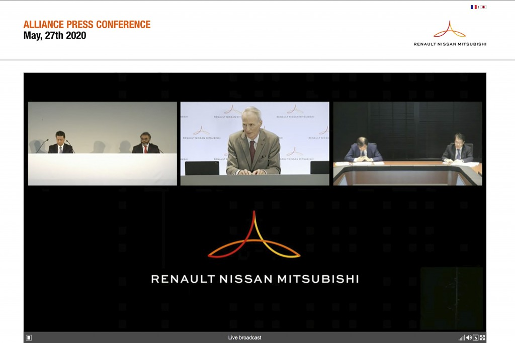 In this image from a video provided by Renault-Nissan-Mitsubishi, Alliance Operating Board Chairman Jean-Dominique Senard, center, Nissan Chief Execut...