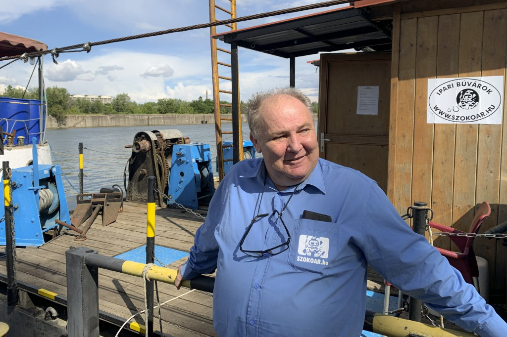 In this May 26, 2020, photo, Janos Vigh, dive supervisor of the team which recovered some of the bodies from the Hableany tour boat speaks during an i...