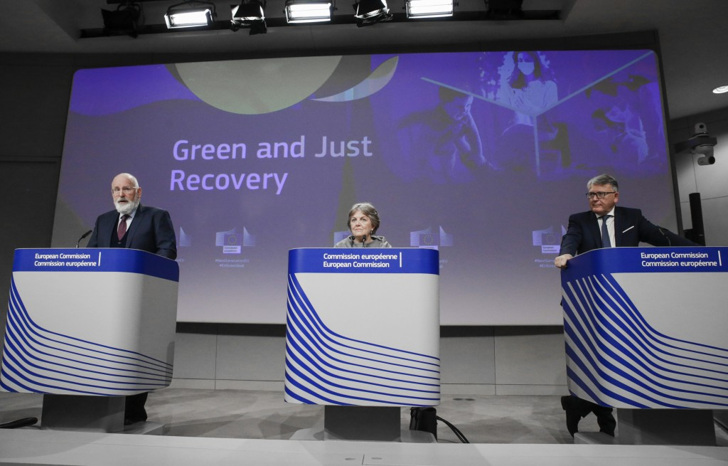 European Commissioners for European Green Deal Frans Timmermans, European Commissioner for Cohesion and Reforms Elisa Ferreira and European Commission...