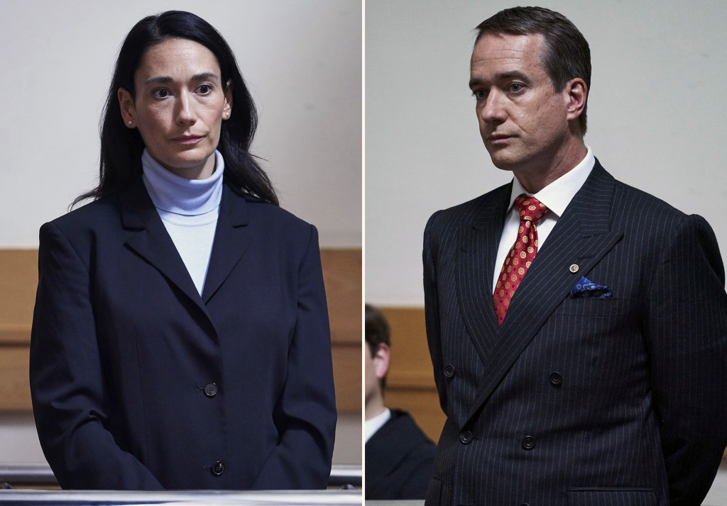 """This combination of photos released by AMC shows Sian Clifford, left, and Matthew Macfadyen in scenes from """"Quiz,"""" about a couple accused of cheating ..."""