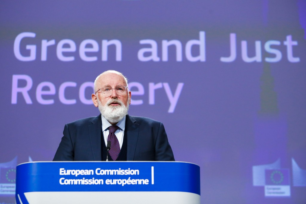 European Commissioners for European Green Deal Frans Timmermans speaks during a joint video press conference on Green and Just recovery at the EU head...