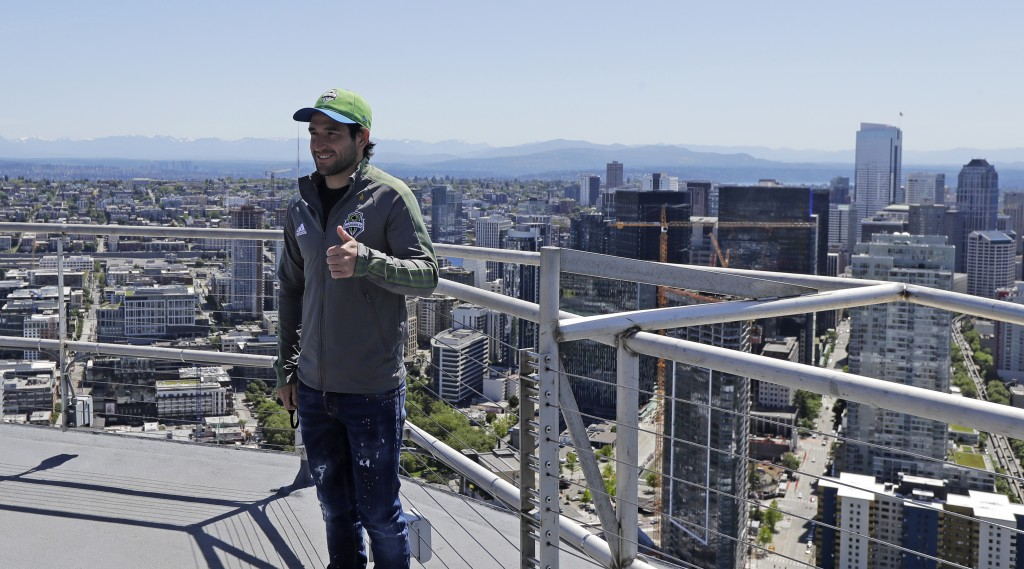 "Seattle Sounders captain and MLS soccer midfielder Nicolas Lodeiro poses for a photo after he took part in a flag raising for the launch of the ""All I..."
