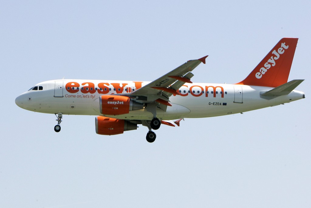FILE - In this file photo dated Wednesday, April 23, 2008, an EasyJet jetliner lands at the Milan Linate airport, Italy. European budget airline eastJ...