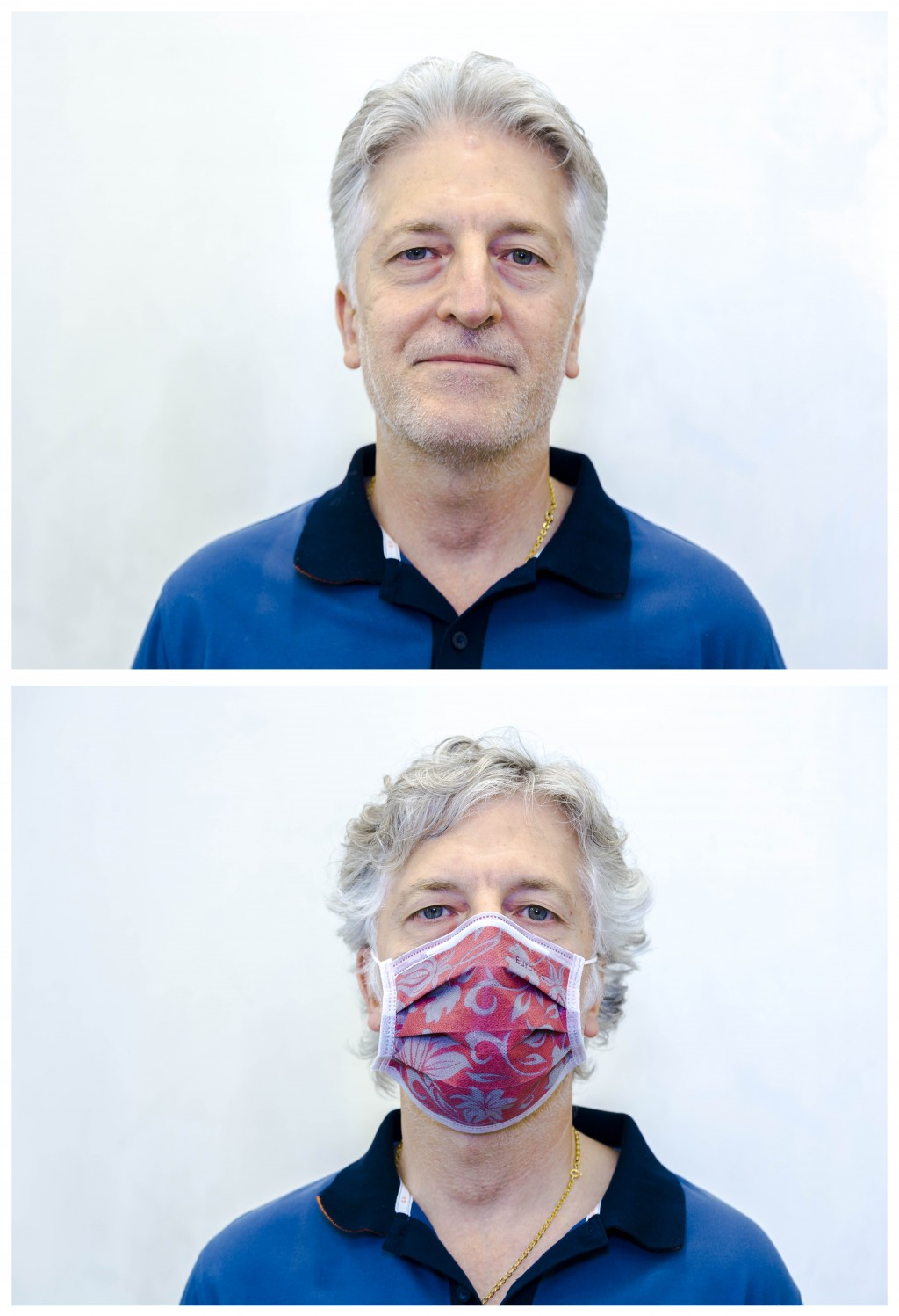This combo of two images taken in Rome on Saturday, May 23, 2020, shows Gino Biagioni, 57, before having his haircut done, bottom, and soon after it. ...
