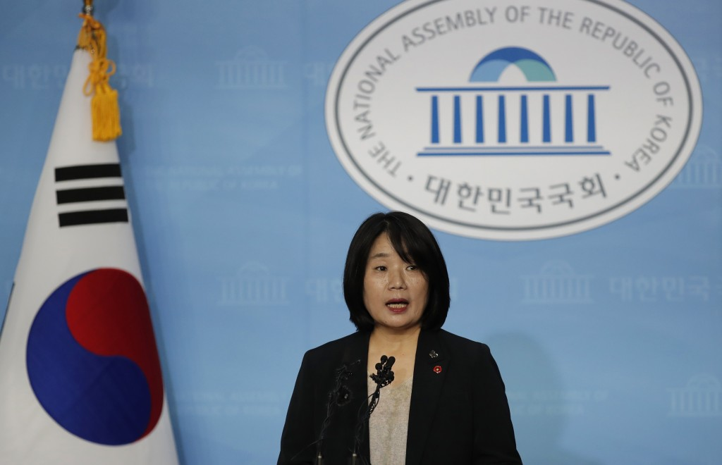 Activist Yoon Meehyang, who begins her four-year term as a lawmaker for the ruling liberal party on Saturday, speaks during a news conference at Natio...