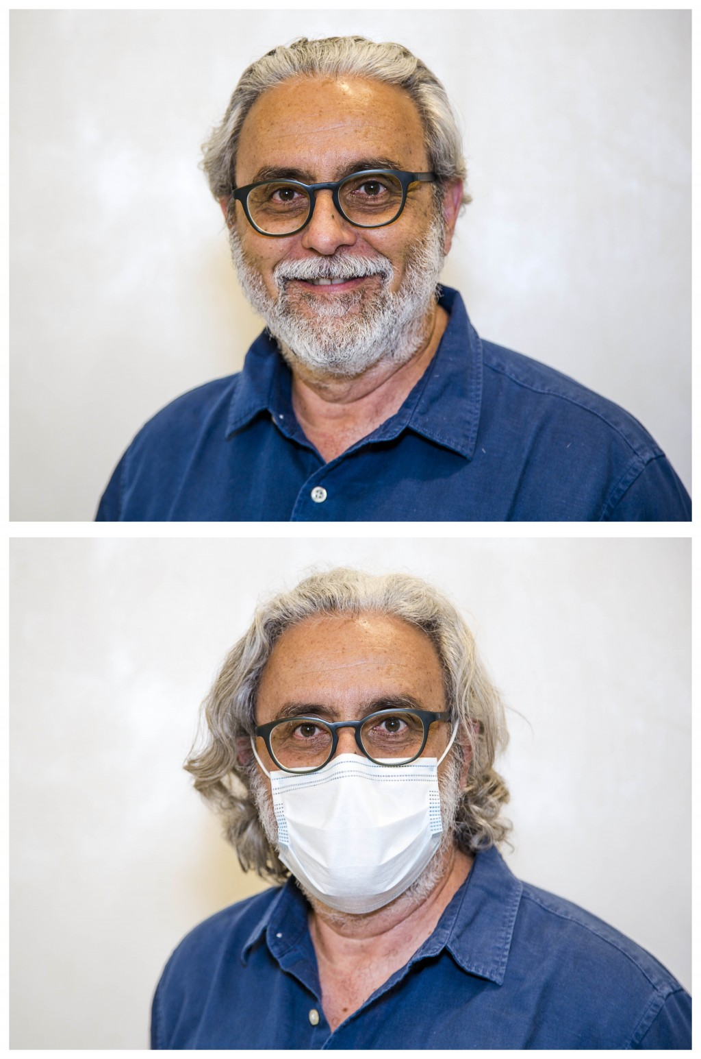"This combo of two images taken in Rome on Monday, May 25, 2020, shows Marco Toro before having his haircut done, bottom, and soon after it. ""I had two..."