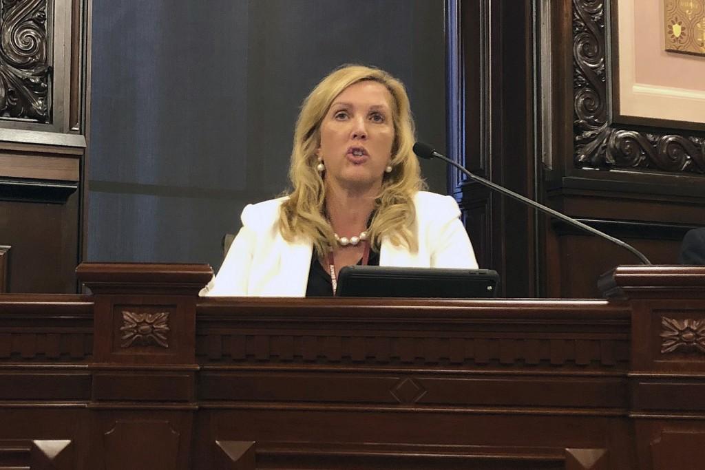 FILE - In this Feb. 6, 2019, file photo, Illinois Sen. Sue Rezin, R-Morris, speaks in Springfield, Ill. More Republican women than ever are seeking Ho...