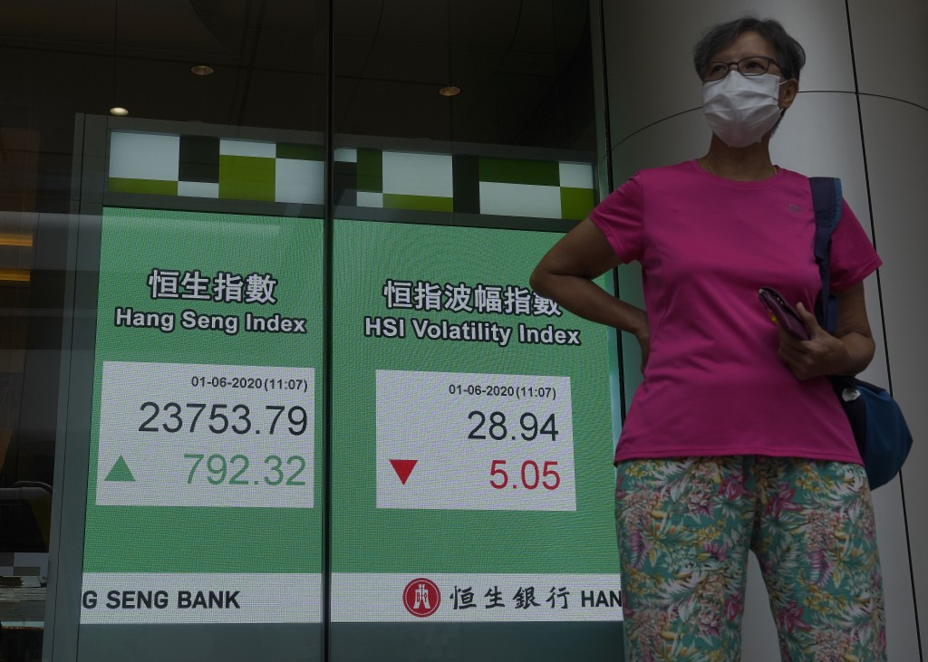 A woman wearing a face mask walks past a bank electronic board showing the Hong Kong share index at Hong Kong Stock Exchange Monday, June 1, 2020. Asi...