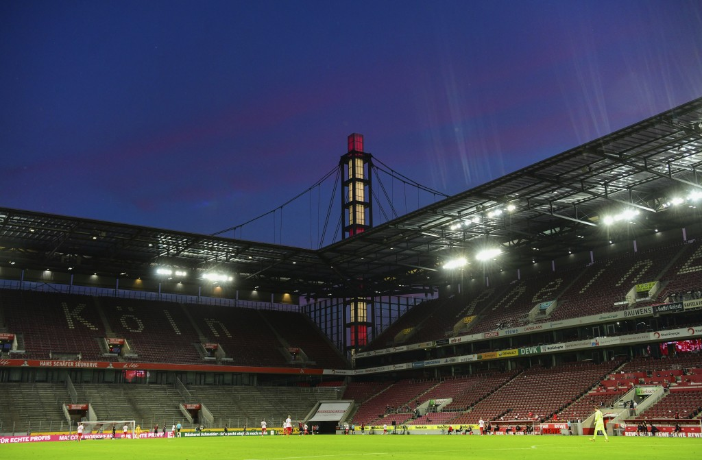 The stands are empty during the German Bundesliga soccer match between 1. FC Cologne and RB Leipzig, in Cologne, Germany, Monday, June 1, 2020. Becaus...