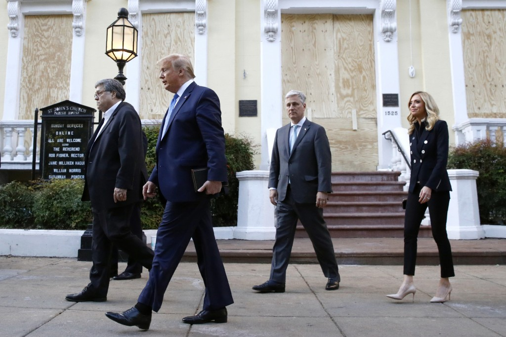 President Donald Trump departs after visiting outside St. John's Church across Lafayette Park from the White House Monday, June 1, 2020, in Washington...