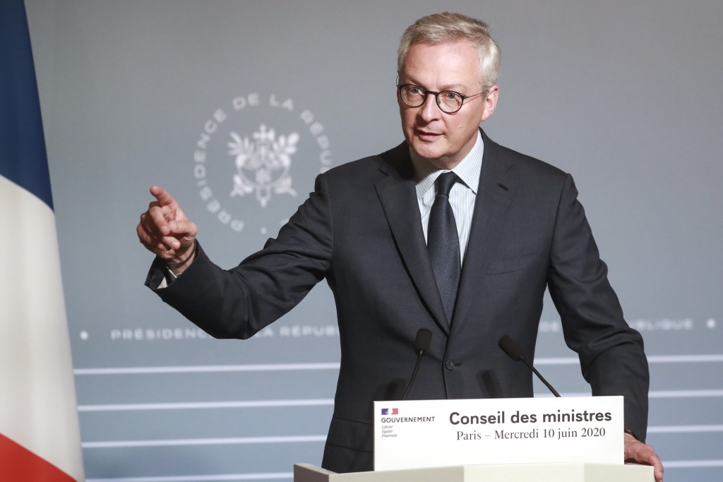 French Finance Minister Bruno Le Maire attends a press conference after the weekly cabinet meeting, Wednesday June 10, 2020 in Paris. The French gover...