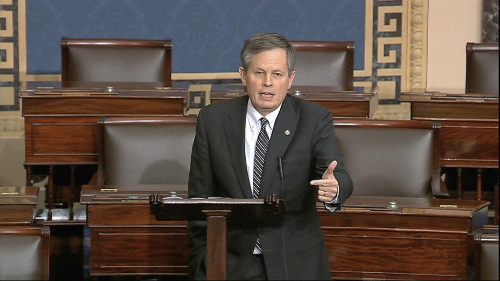 FILE - In this Tuesday, March 24, 2020 file image from video, Sen. Steve Daines, R-Mont., speaks on the Senate floor at the U.S. Capitol in Washington...