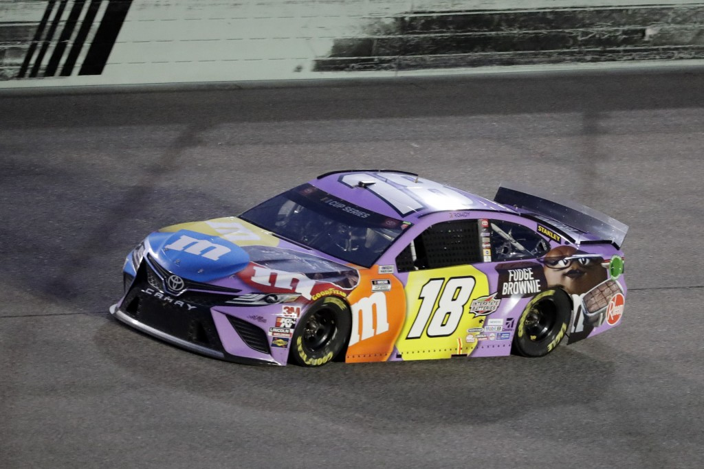 Kyle Busch drives during a NASCAR Cup Series auto race Sunday, June 14, 2020, in Homestead, Fla. (AP Photo/Wilfredo Lee)