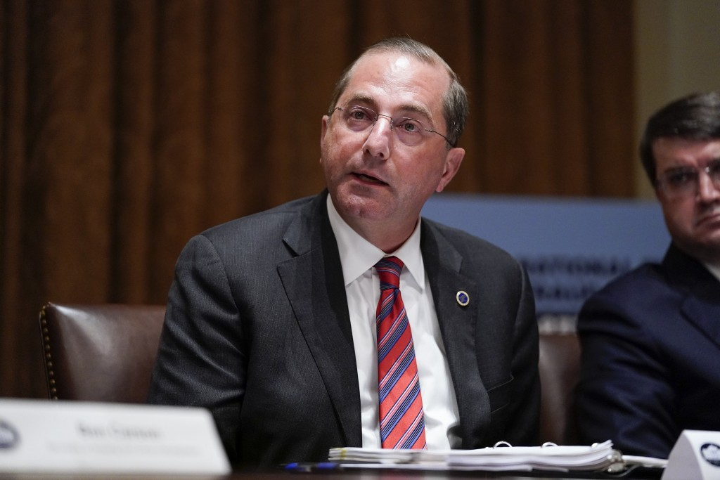 Health and Human Services Secretary Alex Azar speaks during a roundtable with President Donald Trump about America's seniors, in the Cabinet Room of t...