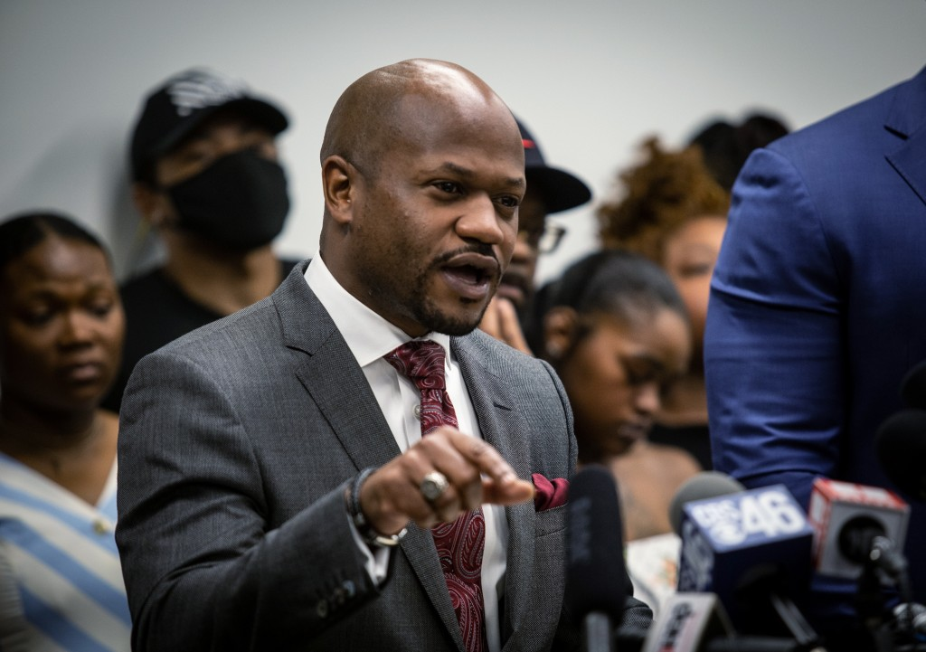 L. Chris Stewart, an attorney for the family of Rayshard Brooks, speaks at a news conference on Monday, June 15, 2020, in Atlanta. The Brooks family a...