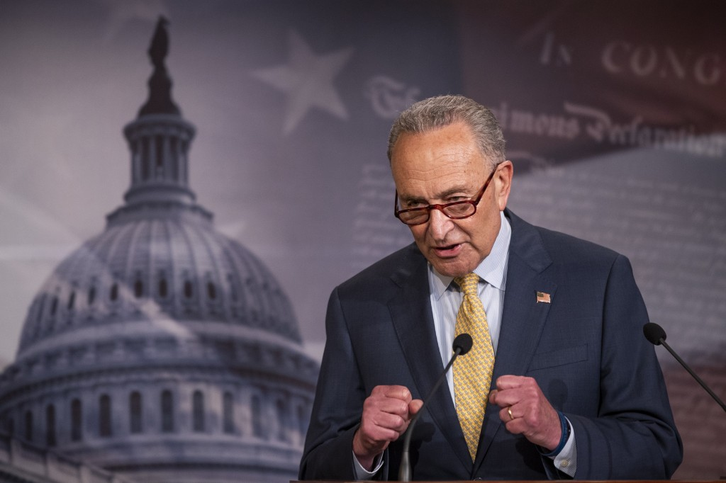 In this June 16, 2020 photo, Senate Majority Leader Chuck Schumer of N.Y., speaks during a news conference on Capitol Hill in Washington. (AP Photo/Ma...